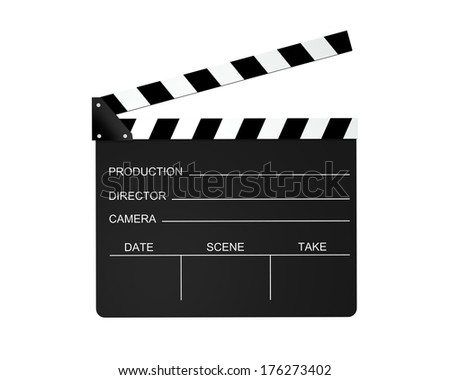 Film slate isolated on a white background. - stock photo