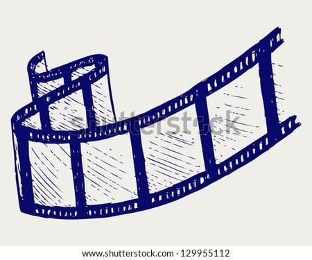 Film strip. Doodle style. Raster version - stock photo