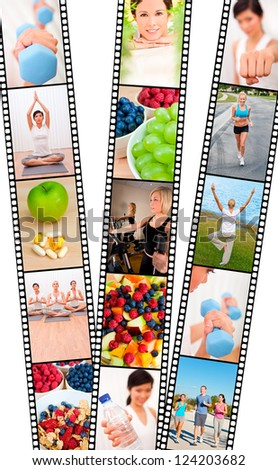 Film strip montage of fresh fruit, healthy food & water & women and men, healthy lifestyle sport exercising, yoga, working out with weights, cross trainer and running - stock photo