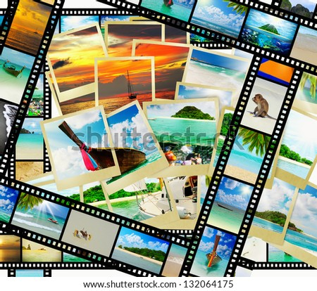 Film strip with beautiful holiday pictures of tropical beach