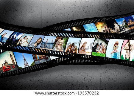 Film strip with colorful, vibrant photographs on grunge wall. Various themes. All pictures used are mine