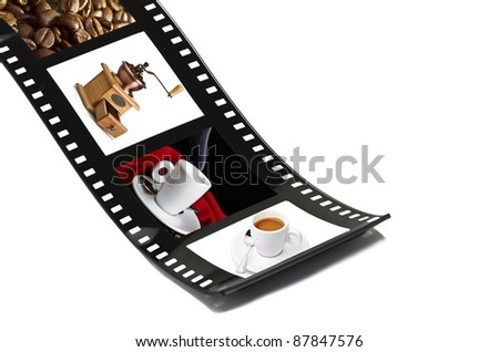 Film strip with preparing coffee - stock photo