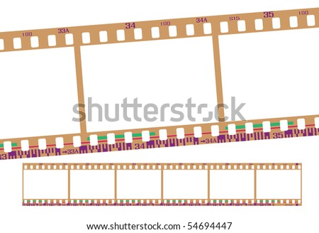 film strip, with realistic negative color. Continuous frames, accurate dimension and details. - stock photo