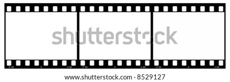 Film Strip With Three Frames, 35mm Format, Grey Numbers, White Background
