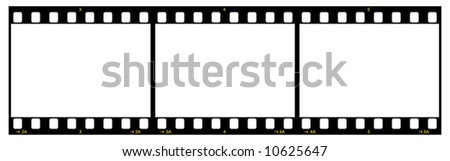 Film Strip With Three Frames, 35mm Format, Yellow Numbers, White Background - stock photo