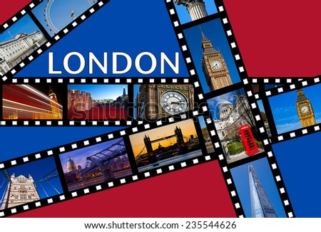 Film strips depicting images of famous London landmarks. - stock photo