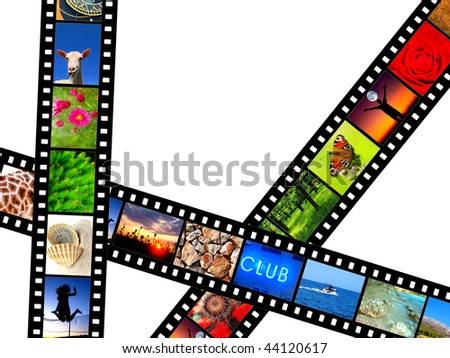 Film strips with various photos - stock photo