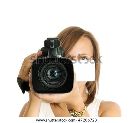 filming (focus on lens) - stock photo