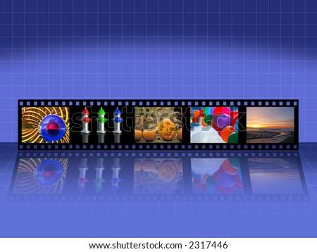 Filmstrip on Blue - stock photo
