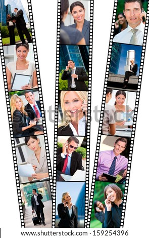 Filmstrip style montage of successful business men and women using mobile cell phone, laptop & tablet computers, in modern city doing business deals in meetings and using wireless technology - stock photo