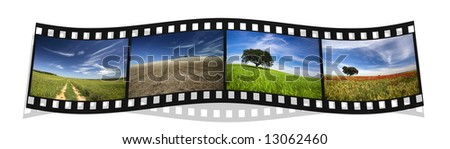 filmstrip with four colorful landscape photography of Portugal - stock photo