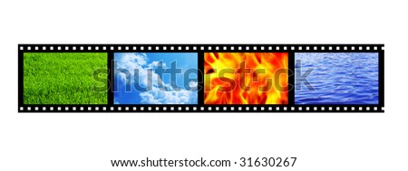 Filmstrip with four elements of nature. Object over white - stock photo