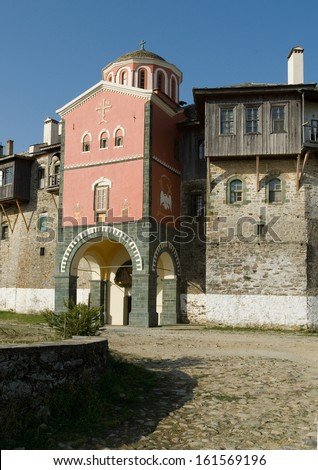 Filotheou monastery, the entrance, Mount Athos, Greece