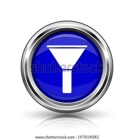 Filter icon. Shiny glossy internet button on white background.  - stock photo