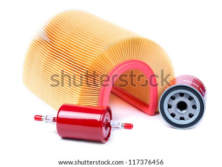 Filter kit car, fuel, oil, air. Isolate on white. - stock photo