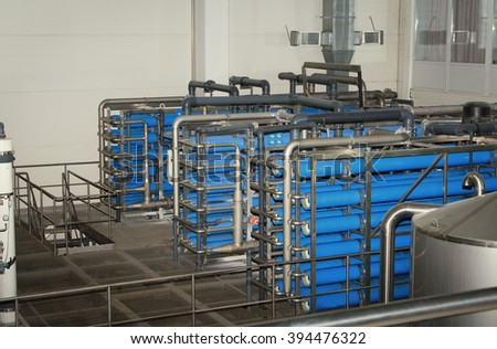 filter system at a large beer company - stock photo
