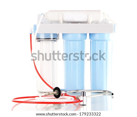 Filter system for water treatment isolated on white - stock photo