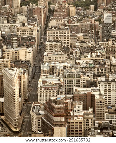 Filtered aerial view of the streets of New York City including the Flatiron building  - stock photo