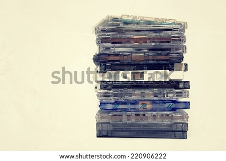 Filtered picture of retro cassette tapes - stock photo