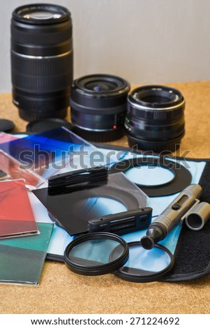 Filters and pencil for cleaning lenses