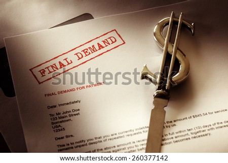 Final demand notice concept for debt, past due and overdue payment - stock photo