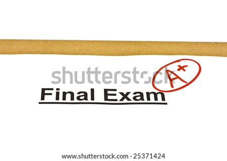 Final exam marked with A+ isolated on white - stock photo