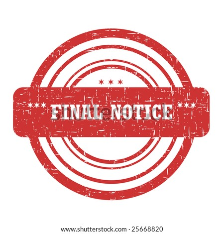 Final Notice Stamp Isolated on White - stock photo