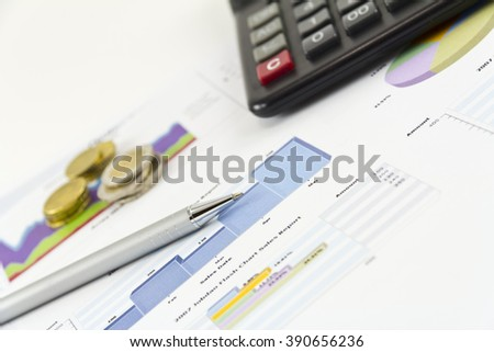 Finance, Analyzing, Market.Analyzing financial data.Market Analyze - pen and numbers on paper.business graph statistics, big data analysis, global seo analytics,financial research report, market stats - stock photo