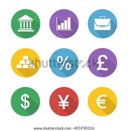 Finance and banking flat design icons set. Trading and stock market long shadow circle symbols. Financial investment white silhouette illustrations. Deposit chart and exchange rates. Raster - stock photo