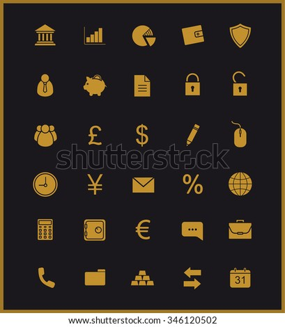 Finance and banking silhouette icons set. Vip customer online service. Gold user interface. Commercial and business website pictograms. Bank and stock market raster golden symbols isolated on black - stock photo