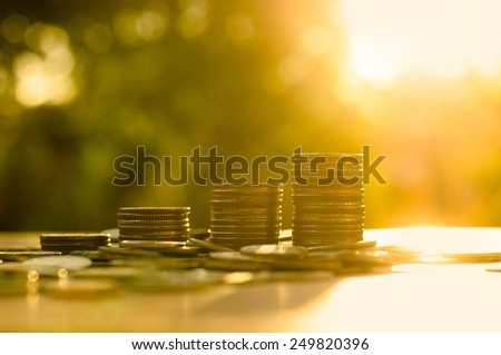 Finance and Money concept, Money coin stack growing graph with sunlight  - stock photo