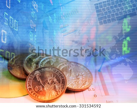 Finance background concept with stock exchange and dollar cents.   - stock photo