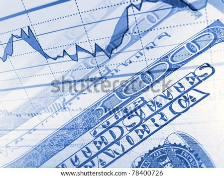 Finance background with dollars and graphs. Business concept. - stock photo