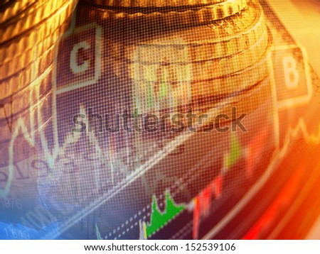 Finance background with graph and coins. Distortion lens use. - stock photo