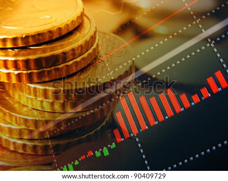 Finance background with market data and euro cents. Finance concept. - stock photo