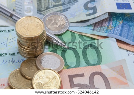 Finance background with money, coin and bill or banknotes.
