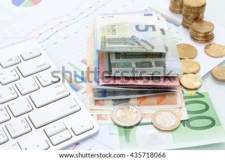 Finance background with money Euro, Dollar have graph analyzing finance market. Finance concept.