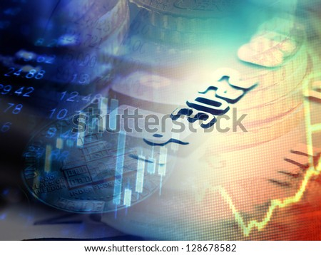 Finance background with stock market chart and credit card - stock photo