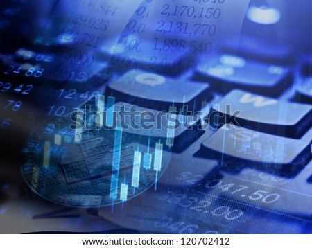 Finance background with stock market chart and keyboard - stock photo