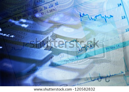 Finance background with stock market chart and money - stock photo