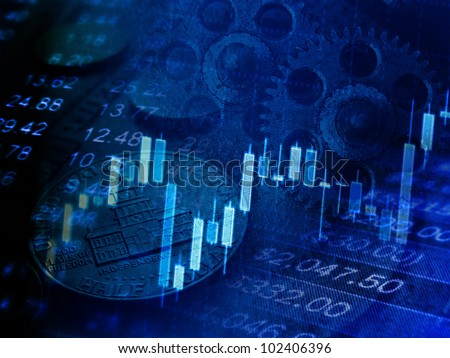 Finance background with stock market chart, coins and gears. Business mechanism concept. - stock photo