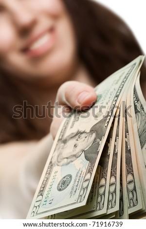 Finance businesswomen hand holding dollar currency - stock photo