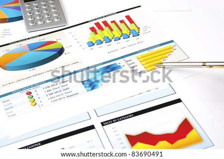 finance charts and graphs, finance investment business concept - stock photo