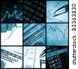 Finance collage in blue tone - stock photo