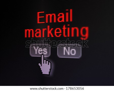 Finance concept: buttons yes and no with pixelated word Email Marketing and Hand cursor on digital computer screen, selected focus 3d render - stock photo