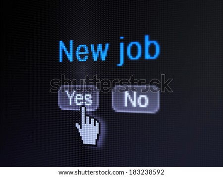Finance concept: buttons yes and no with pixelated word New Job and Hand cursor on digital computer screen, selected focus 3d render - stock photo