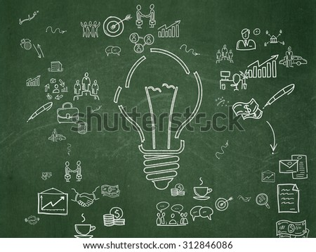 Finance concept: Chalk White Light Bulb icon on School Board background with Scheme Of Hand Drawn Business Icons - stock photo