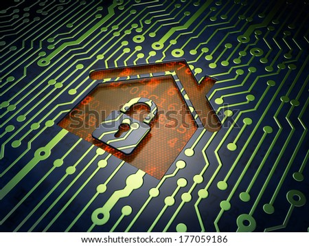 Finance concept: circuit board with Home icon, 3d render