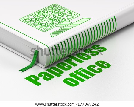 Finance concept: closed book with Green Computer Pc icon and text Paperless Office on floor, white background, 3d render - stock photo