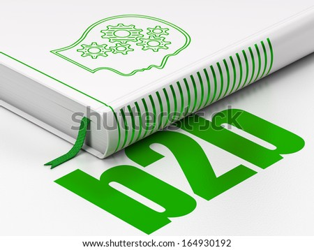 Finance concept: closed book with Green Head With Gears icon and text B2b on floor, white background, 3d render - stock photo